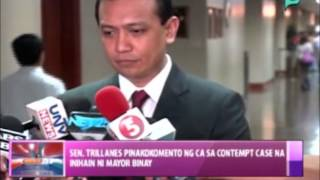 News@1: Sen. Trillanes, pinakokomento ng CA sa 'contempt' case na inihain ni Mayor Binay