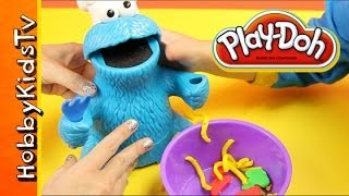 PLAY DOH Cookie Monster Lunch Letter Soup Veggies Fruits Cookies Playset by Sesame Street