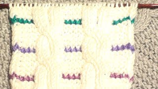 Узоры спицами. Косы с цветными полосками