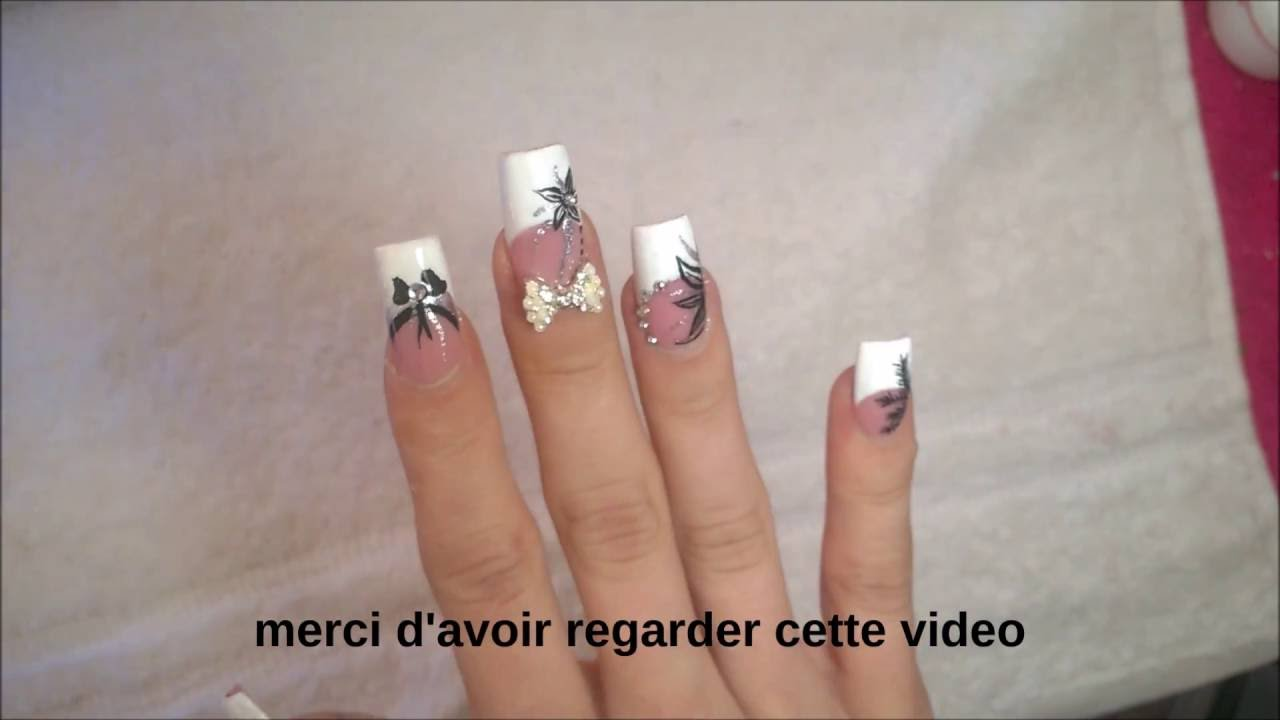 Ongle en gel french blanche sur pose salon youtube - French ongle gel ...
