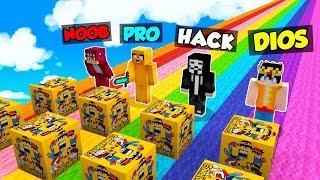 MINECRAFT: NOOB vs PRO vs HACKER vs DIOS 😱 DESAFÍO DE LOS LUCKY BLOCKS DE COMPADRETES