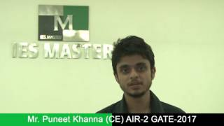 Mr Puneet Khanna Civil Engineering AIR 2 GATE-2017 Toppers Interview IES MASTER Student