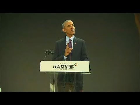Former President Obama speaks at Gates Foundation event