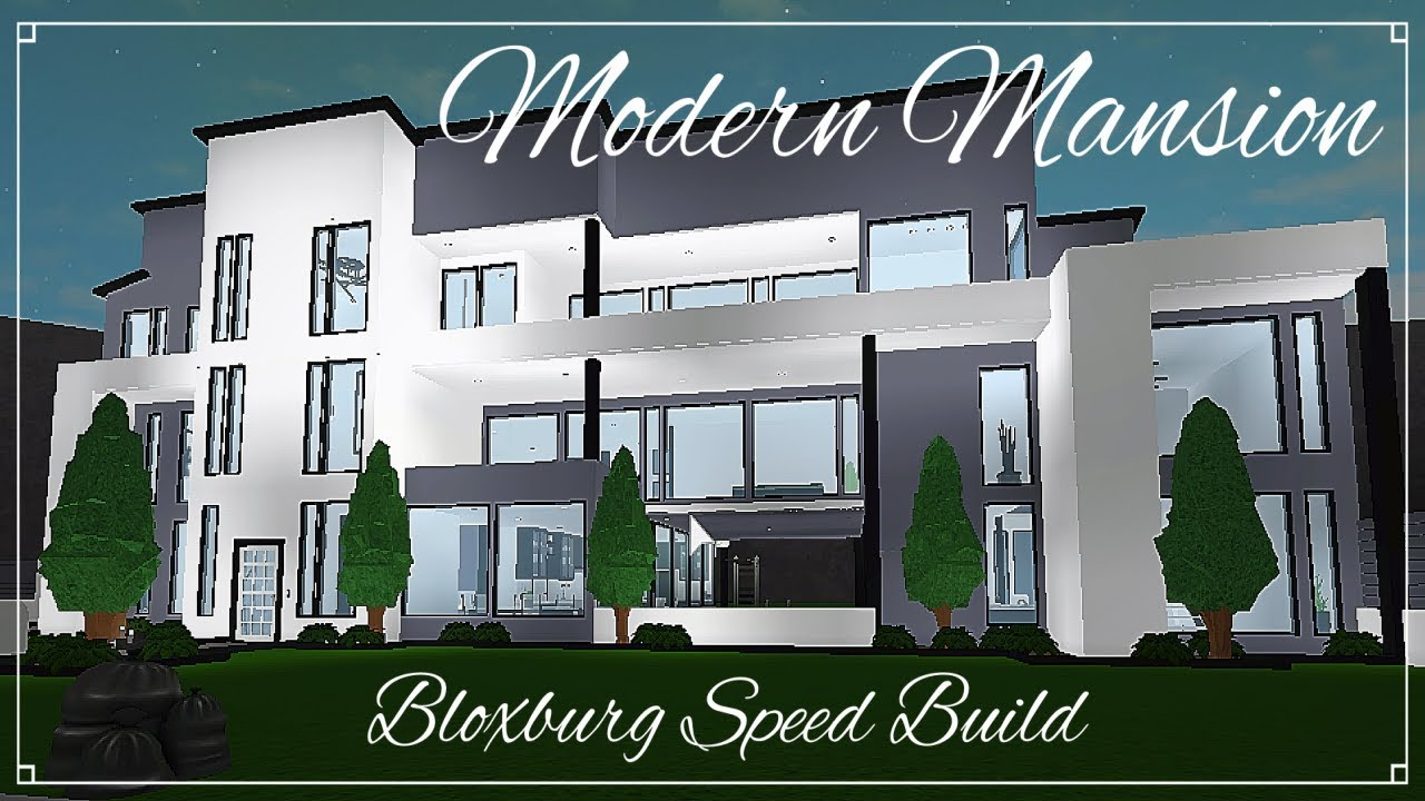 Bloxburg modern black and white mansion speed build