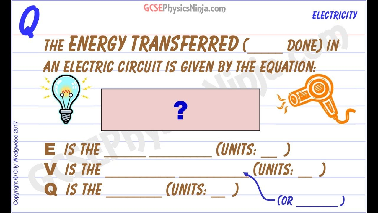 Electrical Energy Formula Potential Difference And Charge Gcse