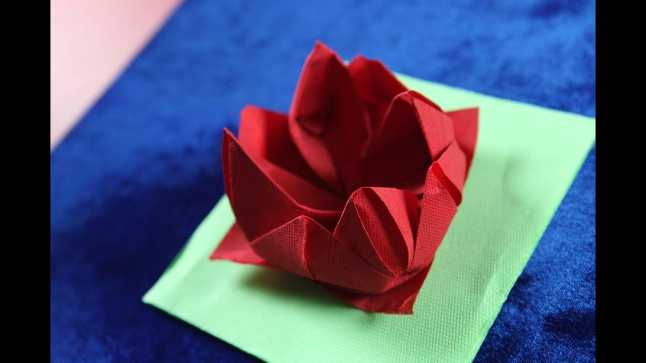 Origami napkin flower fiore rose ninfea youtube origami napkin flower fiore rose ninfea mightylinksfo