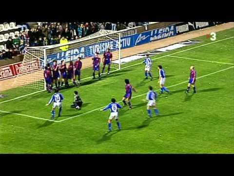 Gol de Tito Vilanova (U.E.Lleida) al Barça