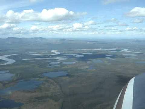 Aerial Pano Tundra Ponds S of Old Crow YT Canada