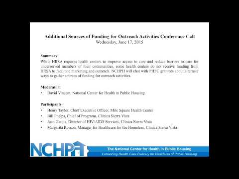 Additional Sources of Funding for Outreach Activities Conference Call