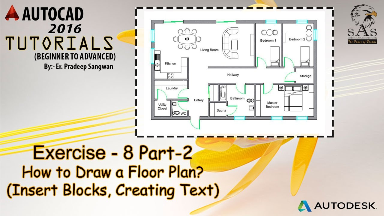 How To Draw Floor Plan In Autocad? Part 2 | Insert Blocks, Creating Text    YouTube