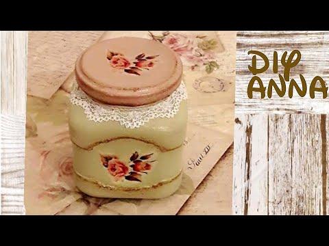 vintage decoupage  shabby chic jar
