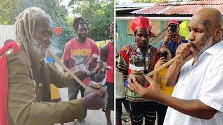 Mike Tyson Enjoys A Smoke With Rastafarian Elder in Antigua