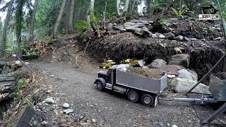 JRP RC - King Hauler Dump Truck And Pup Trailer Hauling Up The Hill 2