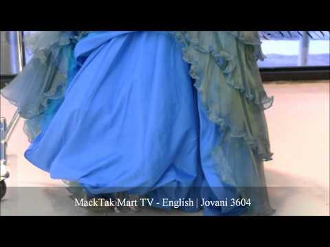 MackTakMart.com | Jovani 3604 | Strapless Beaded Ruffled Peacock Prom Dress