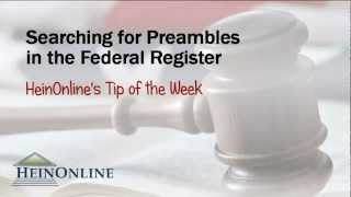 Tip of the Week: How to Find a Preamble in the Federal Register