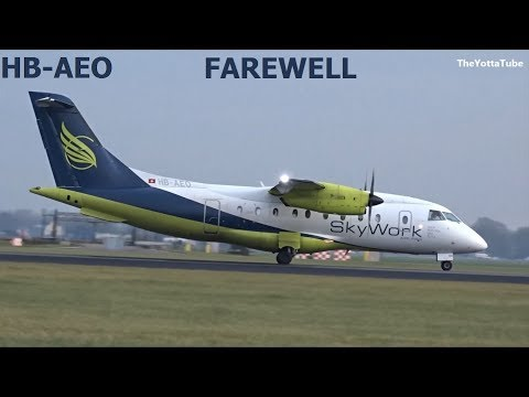 SkyWork – Dornier 328 – (Retired HB-AEO) 2 Landings at AMS