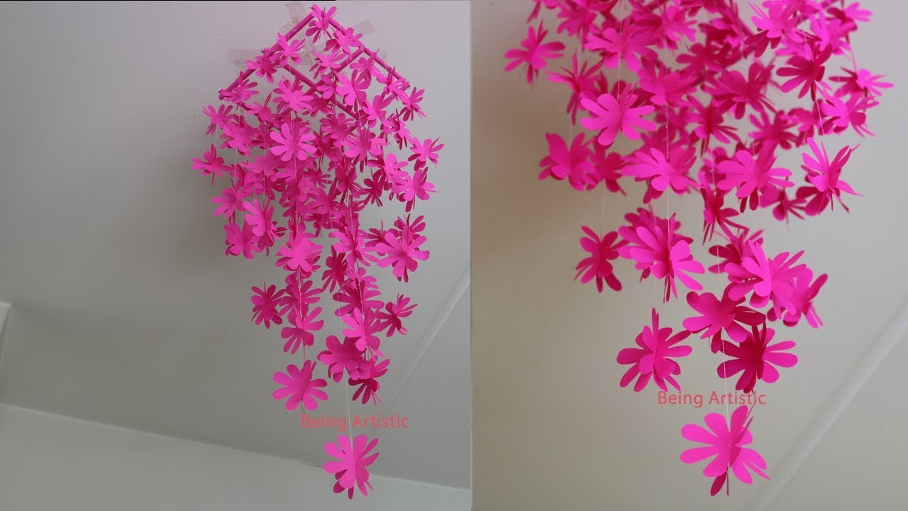 Diy simple home decor hanging flowers paper craft youtube diy simple home decor hanging flowers paper craft mightylinksfo