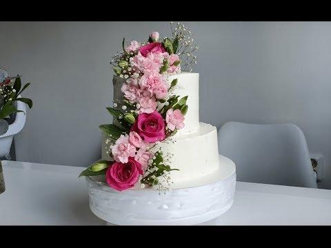 Бисквитный Торт с 2 Видами Крема и Оформление Живыми Цветами ☆ Cake Decorating With Natural Flowers
