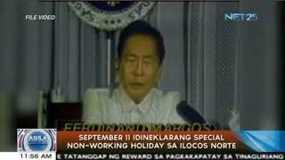 September 11 idineklarang special non working holiday sa Ilocos Norte