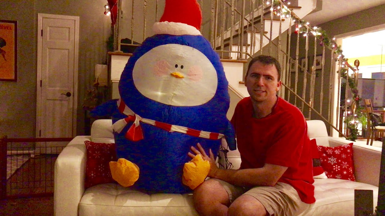 christmas inflatable decoratingreview 4 penguin with a scarf from holiday time walmart - Walmart Inflatable Christmas Decorations