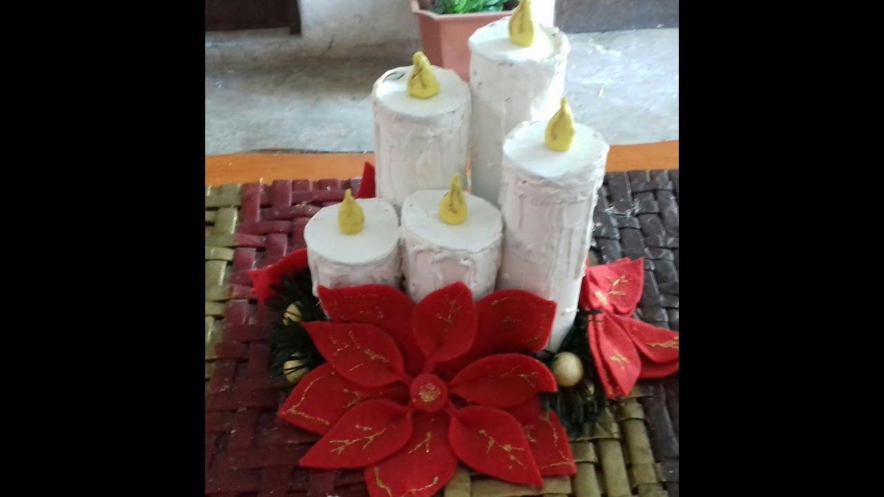 Velas Navidenas Hechas Con Tubos De Carton Super Facil Christmas
