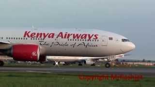 Flight Departure Plane Spotting at London Heathrow - Kenya Airways 777-200ER {5Y-KYZ}