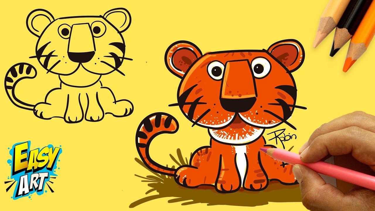 Cara Menggambar Harimau Untuk Anak Anak Menggambar Dan Mewarnai