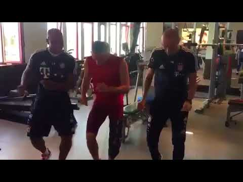 Frank Ribery having fun and breaks at the gym