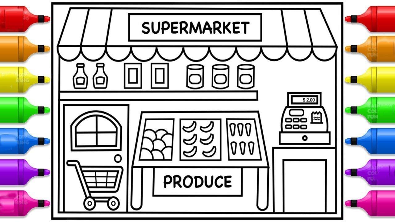 كيفية رسم متجر بقالة سوبر ماركت للأطفال How To Draw A Supermarket Grocery Store For Kids Youtube