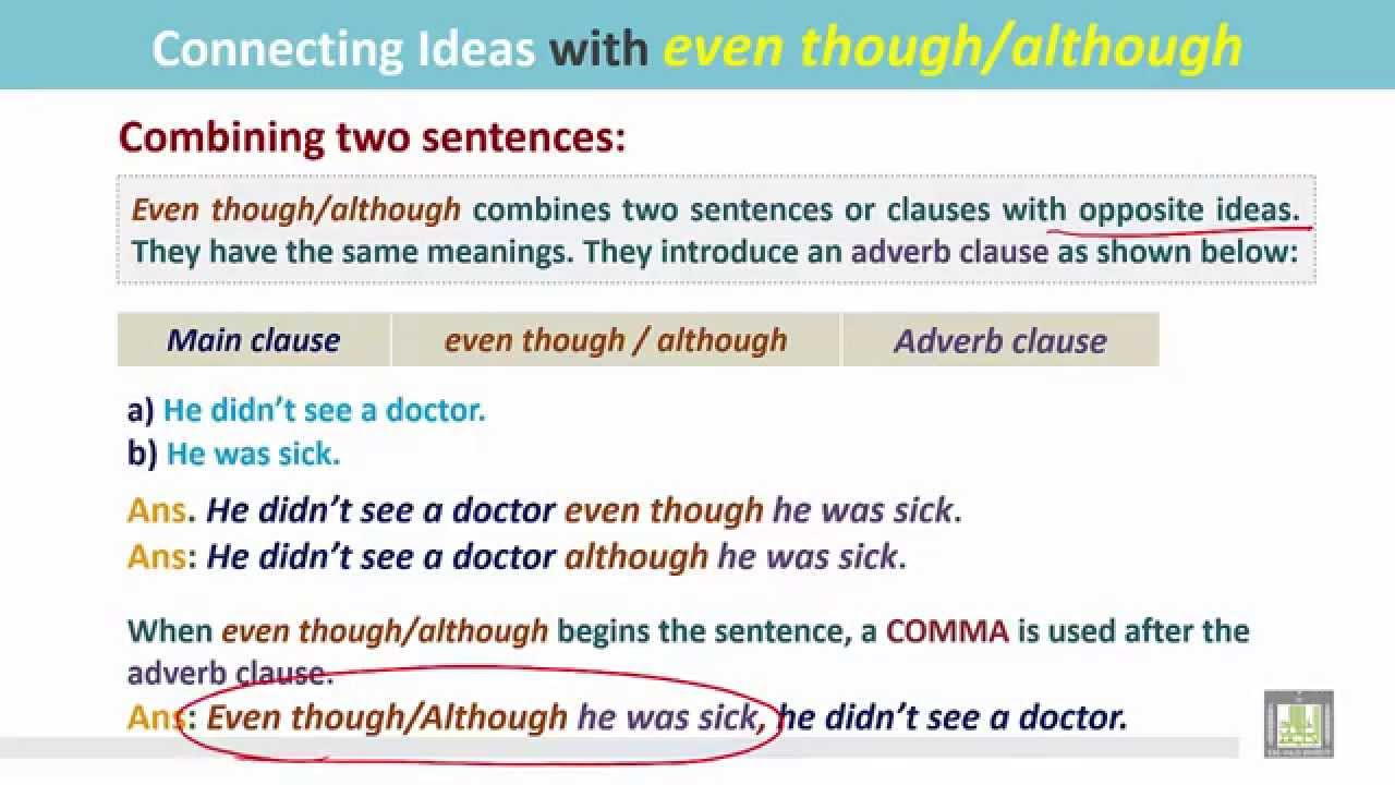 Grammar ( 2 )  Ch 8  L9  Connecting Ideas With Even Thoughalthough  Youtube