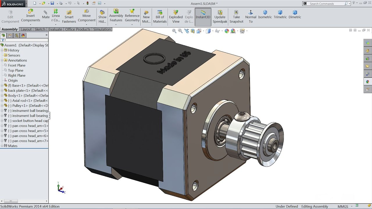 Solidworks tutorial | sketch Stepper motor in Solidworks