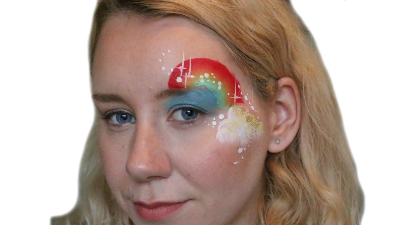 rainbow cloud face paint eye design youtube
