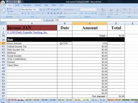 Tracking Income in Daily Expense Tracking Excel Budgeting Workbook ...