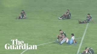 Bizarre sit-down protest during promotion play-off in Argentina