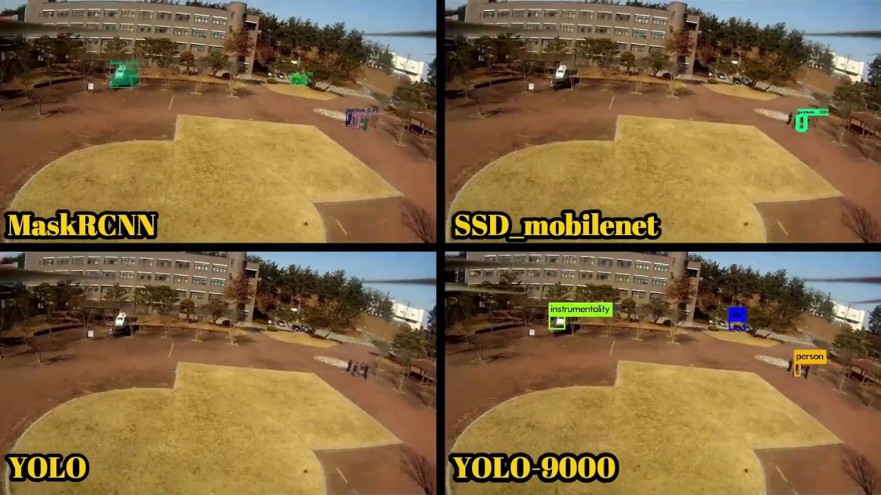 Target Detection from Drone: MaskRCNN vs SSD Mobilenet vs YOLO
