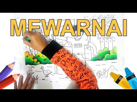 Mewarnai menggunakan crayon / Oil Pastels (DIY, Tutorial, Menggambar, Mewarnai)