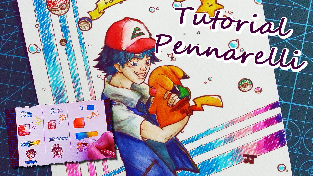 Come Colorare Coi Pennarelli Tutorial Ita Disegno Ash Pikachu