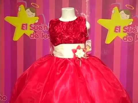 264aee312 Vestido de niña Rojo. Mod. 130-A - YouTube