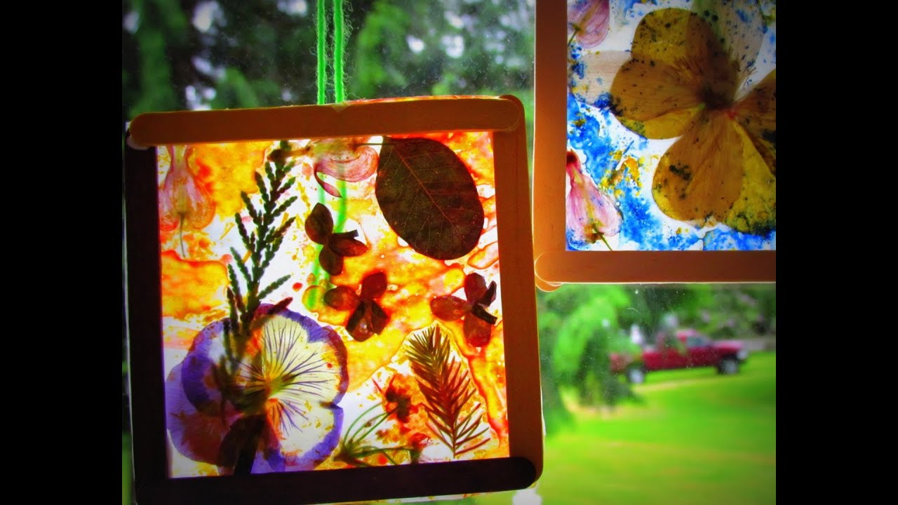 Diy Stained Glass Craft Dried Flowers Leaves Crayon Shavings Diy