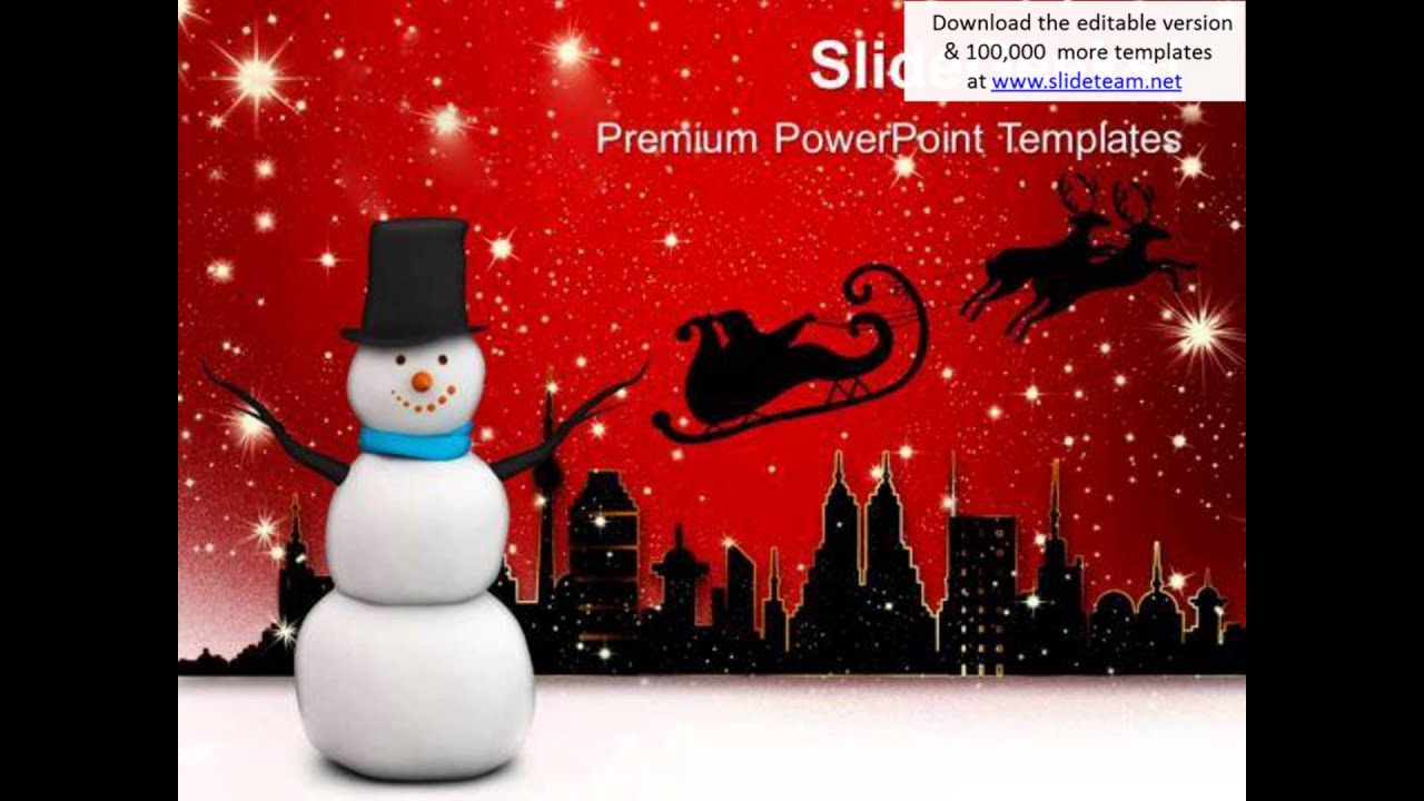 christmas theme with snowman powerpoint templates ppt backgrounds