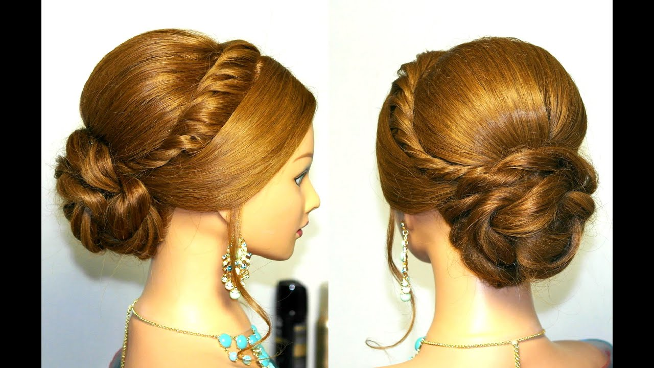 Wedding prom updo, hairstyle for long hair. - YouTube