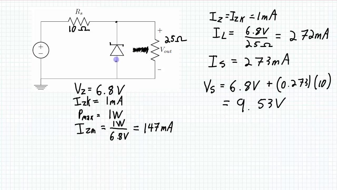 zener diodes line regulation example [ 1280 x 720 Pixel ]