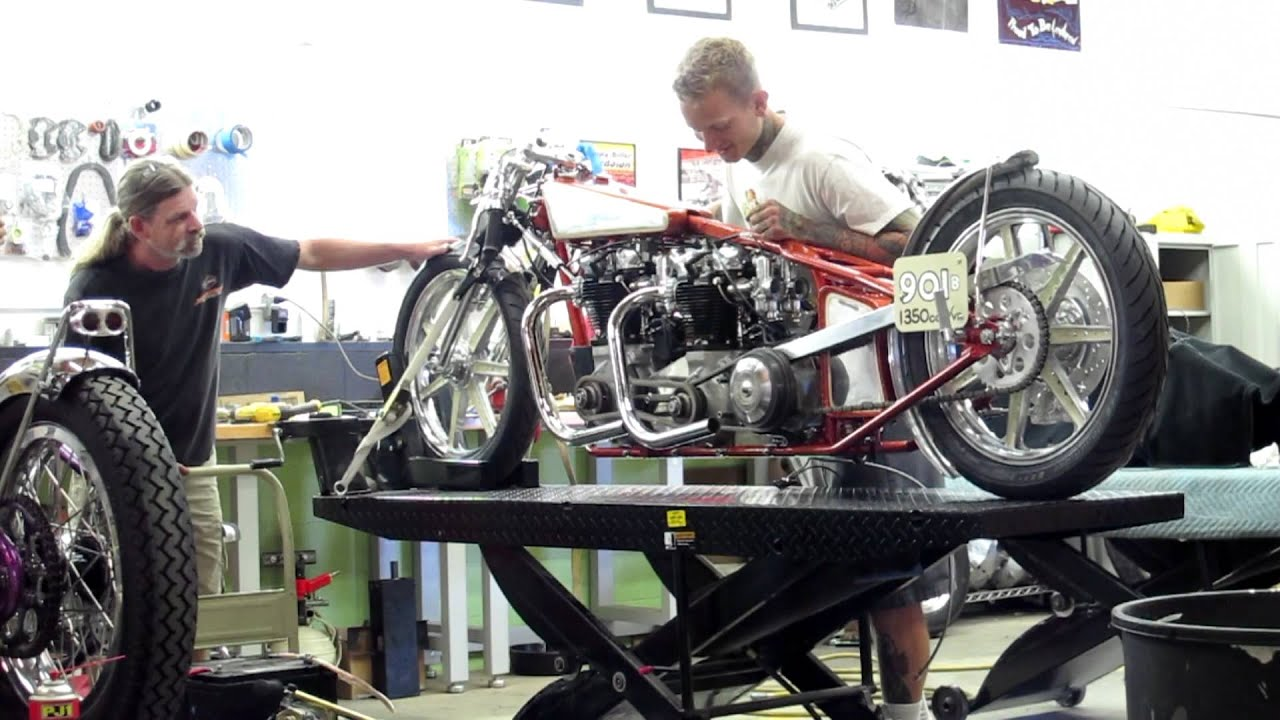 First Time Starting Dual Engine Pre Unit Triumph Land Speed Race Lowbrow Customs Tech Bike