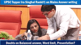 Ira Singhal (IAS Topper Rank1) on Mains Answer Writing Skill, Wordlimit,  Mistakes