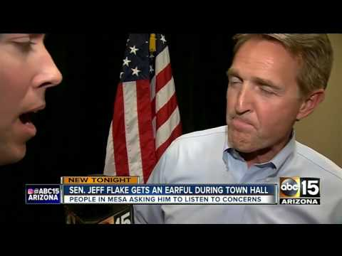 Senator Flake met by jeering crowd at Mesa town hall meeting