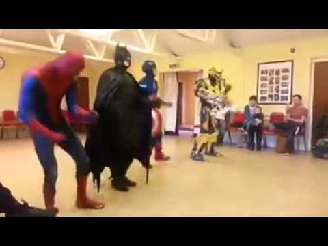 "Superheroes dance to ""Uptown Funk"" By Mark Ronson Ft. bruno Mars"