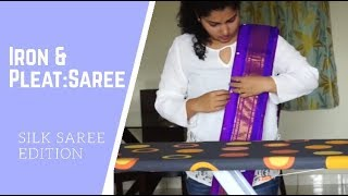How to Iron and Pleat a Indian Saree (Ironing and Pleating Silk/Pattu Saree)