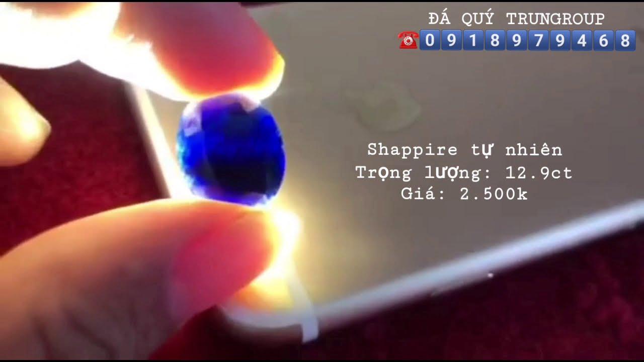 Shapphire xanh đậm hàng tự nhiên 12.9ct | Giá 2.500k | 0918979468