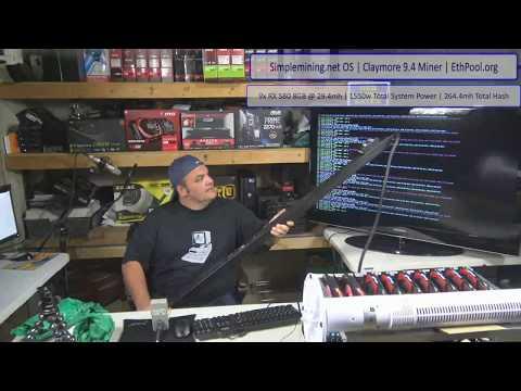 Live Episode 16 - 9x Ethereum Mining RIG, same board! 264MH 9x RX580 8GB! BIOS in Desc.!