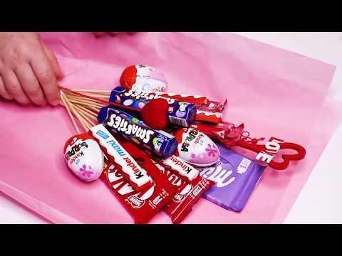 БУКЕТ ИЗ ШОКОЛАДОК и КИНДЕРОВ / Как сделать букет из шоколадок своими руками